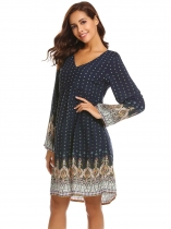 Navy blue Vintage Women's Bohemian Printed Ethnic Style Loose Casual Tunic Dress