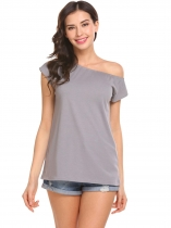 Gray Women One Shoulder Short Sleeve Solid Casual Loose Fit Blouse Top T-shirt