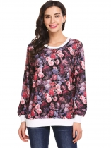 Purple Women O-Neck Floral Patchwork Casual Loose Fit Thin Pullover Sweatshirt