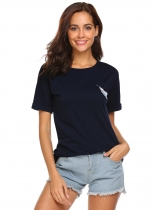 Navy blue Women Casual Round Neck Short Sleeve Print T Shirt Graphic Tee