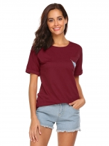 Wine red Women Casual Round Neck Short Sleeve Print T Shirt Graphic Tee