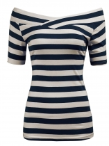 Navy blue Women Off Shoulder Short Sleeve Striped Slim Fit Casual Blouse Top