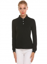 Black Polo feminino casual de manga comprida