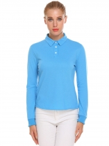 Blue Women Casual Solid Long Sleeve Polo Shirt