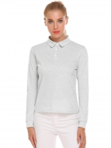 Gray Women Casual Solid Long Sleeve Polo Shirt