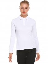 White Women Casual Solid Long Sleeve Polo Shirt