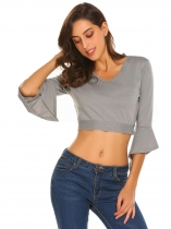 Gray Women V-Neck 3/4 Flare Sleeve Back Lace Up Solid Slim Fit Crop Top