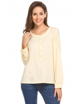 Apricot Women Casual Round Neck Long Sleeve Button Front Pleated Loose Blouse Tops
