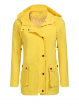 Yellow Women Lightweight Hooded Raincoat Outdoor Casual Loose Waterproof Jacket
