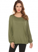 Olive Green Women Casual O-Neck Long Batwing Sleeve Regular Fit Loose Solid Sexy Blouse T-shirt Tops