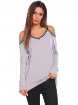 light grey Women Casual V Neck Cold Shoulder Long Sleeve Patchwork Loose Blouse Tops T-shirt