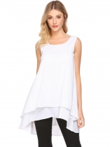 White Women Casual O-Neck Sleeveless Solid A-Line Multi-layers Hem Sexy Chiffon Tops Vest