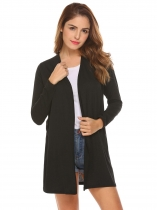 Black Women Long Sleeve Lace Up Back Open Front Casual Cardigan