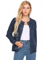 Dark blue Women Casual Long Sleeve Button Down Denim Jacket