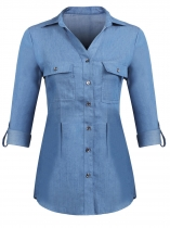 Light blue Women Casual Turn Down Collar Long Sleeve Solid Denim Shirt Blouse
