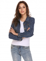 Dark blue Women Fashion Turn-down Collar Long Sleeve Button Pocket Short Denim Outwear Jacket