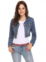 Light blue Mulheres Moda Turn-down Collar manga comprida botão Pocket Short Denim Outwear Jacket