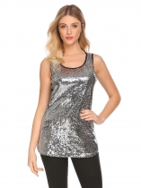 Silver Women Fashion Sleeveless Sequins Patchwork Tank Top