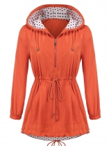 Orange Women Casual Hooded Long Sleeve Elastic Cuffs Waist Drawstring Asymmetrical Hem Windproof Outwear