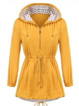 Yellow Women Casual Hooded Long Sleeve Elastic Cuffs Waist Drawstring Asymmetrical Hem Windproof Outwear