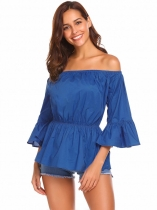 Royal Blue Women Off Shoulder 3/4 Flare Sleeve Solid Elastic Slim Waist Blouse Tops