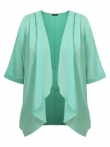 Green Mulheres Plus Size Casual 3/4 Sleeve Solid Draped Aberta Frente Chiffon Long Cardigan