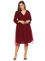 Wine red Women Plus Size 3/4 Sleeve Surplice Mesh A-Line Skater Dress