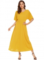 Yellow Women Casual V-Neck Batwing Short Sleeve Loose Maxi Dress