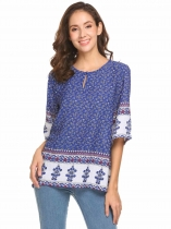 Blue Women Casual Half Sleeve Loose Ethnic Print Button Front T-shirt Tops Blouse