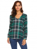 Green Women Long Sleeve V-Neck Cotton Curved Hem Loose Plaid T-Shirts