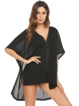 Czarny Women Solid V Neck Loose Swimsuit Bathing Suit Beach Dress Cover Up