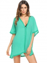 Green Solid V Neck Loose Swimsuit Beach Dress Cover Up