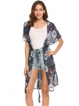 Navy blue Women Batwing Sleeve Drawstring Floral Split Beach Chiffon Long Jackets