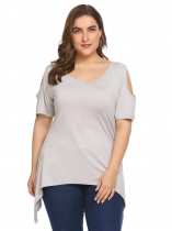 Gris Femmes Plus Size Cold Shoulder manches courtes Solid Comfy Asymmetrical T Shirt