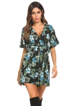 Black Women Boho V-Neck Flare Sleeve Floral Casual Belted Romper Playsuit