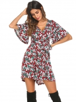 Wine red Women Boho V-Neck Flare Sleeve Floral Casual Belted Romper Playsuit