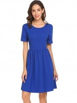 Royal Blue Women Loose O-Neck Solid Back Zipper Ruched Hem A-Line Dress