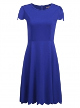Royal Blue Women Casual O-Neck Cap Sleeve A-Line Solid High Waist Scalloped Hem Dress