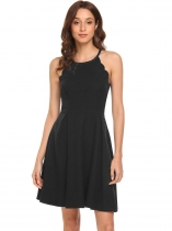 Black Spaghetti Strap Ruched Swing Hem High Waist Solid Dress