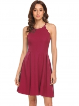 Wine red Spaghetti Strap Ruched Swing Hem High Waist Solid Dress