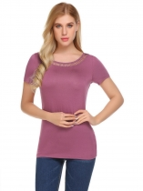 Purple Women Casual O-Neck Short Sleeve Patchwork Hollow Out Sexy T-shirt Tops