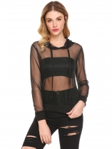 Black Women Hooded Mesh See Through Sheer Cover Up Tops