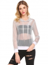 White Women Hooded Mesh See Through Sheer Cover Up Tops