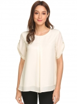 Beige Women Casual Round Neck Short Sleeve Solid Chiffon Blouse Top