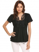 Black Women Short Sleeve Lace Patchwork Front Ruched Top Blouse