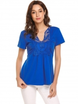 Blue Women Short Sleeve Lace Patchwork Front Ruched Top Blouse