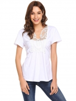 White Women Short Sleeve Lace Patchwork Front Ruched Top Blouse
