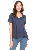 Navy blue Women V-Neck Short Sleeve Button Décor Casual Loose Fit Blouse Top
