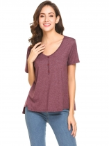 Wine red Women V-Neck Short Sleeve Button Décor Casual Loose Fit Blouse Top