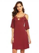 Wine red Women Cold Shoulder Flare Sleeve Hollow Out Slim Casual A-Line Dress